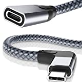 Cable Extensión Tipo C ángulo Recto 1M,Alargador Con USB-C 3.1 Hembra a Macho 90 Grados Gen2 10 Gbps,Thunderbolt 3 Extendido Forma L para Magsafe Cargador,iPhone 12 Mini Max,iPad 8 Pro 11 12.9 Air 4