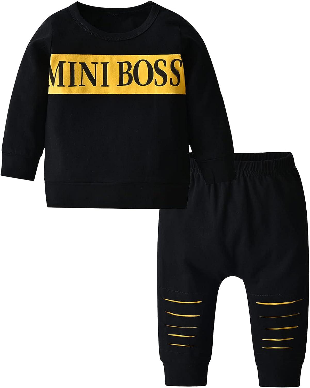 ToddlerInfantBabyBoyClothesLongSleeveLetterPrintSweatshirtTops+Pants2PCSOutfitSet