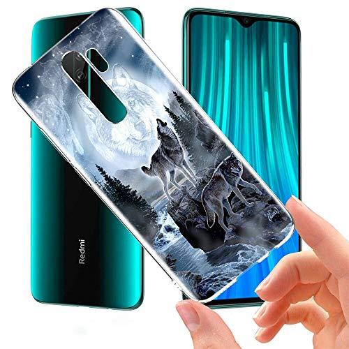 ZhuoFan Funda Xiaomi Redmi Note 8 Pro, Cárcasa Silicona Transparente con Dibujos Diseño Suave TPU Antigolpes de Protector Piel Case Cover Fundas para Movil Xiaomi Red mi Note 8Pro, Lobo