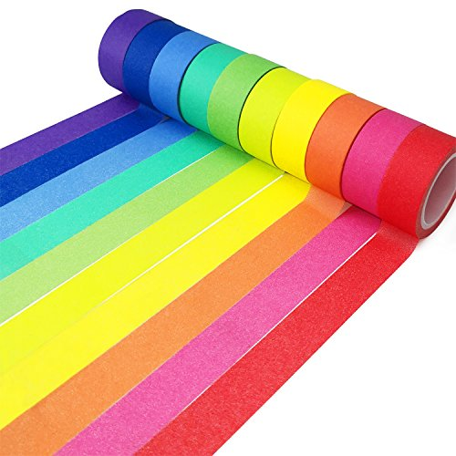 Piokio 10 Rolls Rainbow Washi Tape 15mm Wide Set for Solid Colored Tape for DIY School Supplies, 164 Feet