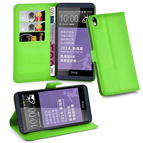 Cadorabo Hülle für HTC Desire 816 - Hülle in MINZ GRÜN – Handyhülle mit Kartenfach & Standfunktion - Case Cover Schutzhülle Etui Tasche Book Klapp Style