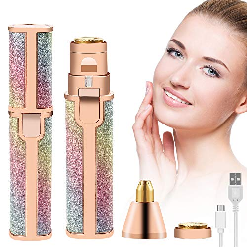 Depiladora Facial Mujer, Eléctrica Depiladora Cejas Afeitadora Removedor de Vello 2 en 1 Maquina Depilar Facial USB Recargable Impermeable Portátil sin Dolor Luz LED