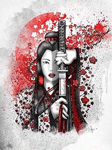 Amymami Cuadro sobre Lienzo Più Stile Giappone Geisha Girl Sword Modern Art Film Print Silk Poster Home Wall Decor 60x90cm