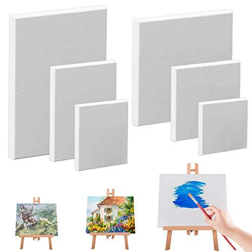 KLYNGTSK 6 Stück Leinwände Leinwandrahmen Künstler Leinwand Set Leer Leinwand zum Malen Weiße Malleinwand Keilrahmen Leinwand Panel Leinwandbrett für Handwerk Malerei Zeichnung, 6 Größen