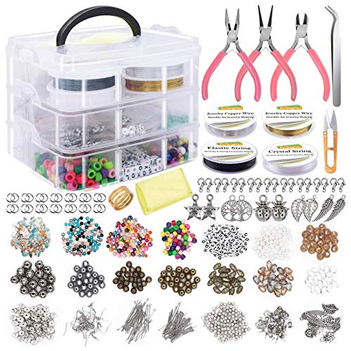 Hotpink1 Kit de fabricación de joyas, alicates de alambre con cuentas de cristal y herramientas de reparación