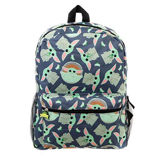 Mandalorian Kids Baby Yoda All Over Print Black Backpack