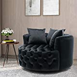 Pannow Swivel Barrel Chair, Modern Akili Swivel Accent Chair, Velvet Round Barrel Chair for Home Living Room/Modern Leisure Chair with 3 Pillow (42.9 Inch, Black)