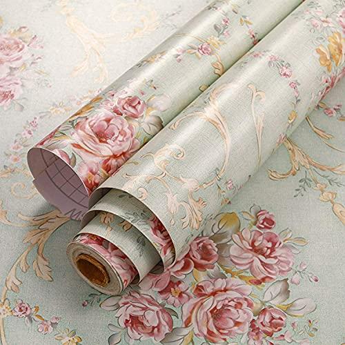 Lvcky Vintage-Blumenregal Liner Kommode Schublade Aufkleber Selbstklebend Schrank Schreibtisch Kontaktpapier Grün-Rose