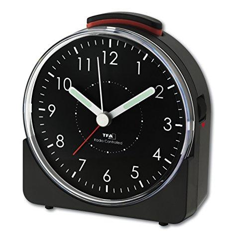 TFA Dostmann 60.1513.01 Sunrise Analoger Funk-Wecker, leises Uhrwerk, mit Weckalarm, 10,2 x 4,6 x 11 cm, schwarz, Kunststoff