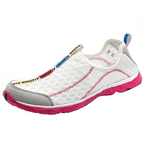 ALEADER Women's Mesh Slip On Water Shoes White 10 D(M) US