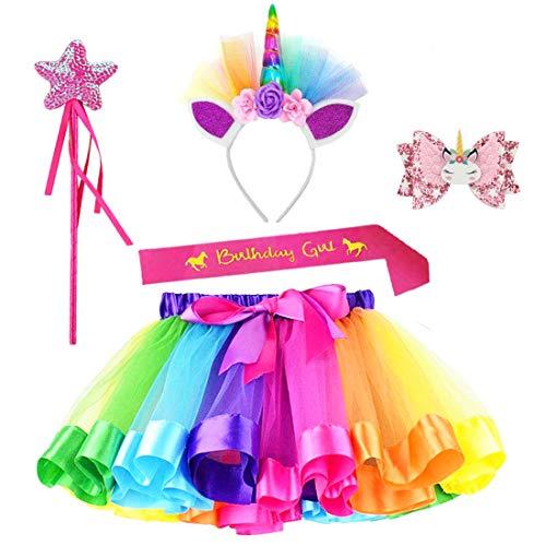 JaosWish - Juego de disfraz de unicornio con falda tutú para niñas y niños, disfraces de tul de ballet, unicornio, diadema para fiesta de cumpleaños M M