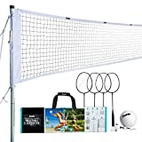 Franklin Sports Volleyball & Badminton Combo Set - Portable Backyard Volleyball & Badminton Net Set - Volleyball, Rackets & Birdie Included - Pro, (Model: 50612)