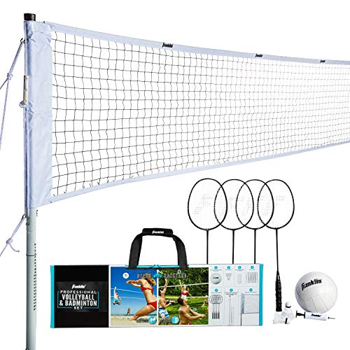 Franklin Sports Volleyball & Badminton Combo Set - Portable Backyard Volleyball & Badminton Net Set - Volleyball, Rackets & Birdie Included - Starter, 50610