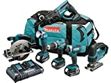 MAKITA Pack 6 machines DLX6068PT avec 3 batteries 18V 5Ah Li-ion, sac de transport et chargeur...