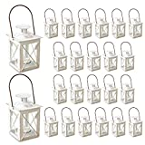 ADORABLE MINI LANTERNS - Light up your home, table settings or celebration decorations with elegant, vintage mini lanterns! TEA LIGHT HOLDERS - Each little distressed white lantern holds one tea light candle (not included) EASY TO USE - The removable...