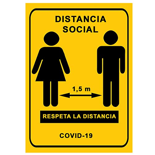 Señalización Coronavirus - Cartel Distancia Social para empresas, comercios, oficinas | Señal COVID-19 Autoinstalable y Resistente a la Intemperie | 21 x 30 cm | Descuentos por Cantidad