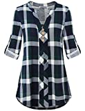 MOQIVGI Career Blouses for Women,Business Casual Checked Soft Snug Curved Hem Dressy Flowy Shirts Cuffed Long Sleeve Vneck Nice Slouchy Country Style Tunic Tops Boutique Clothing Blue Green XX-Large