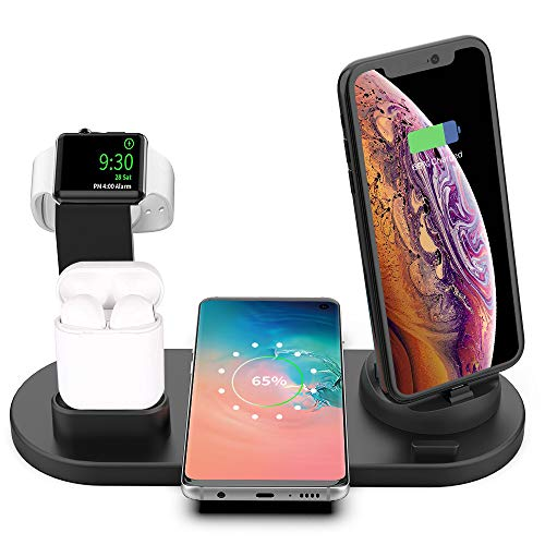 Wireless Charger, Acokki 4 in 1 Wireless Charging Stand for Apple Watch and Airpod, Charging Station for Multiple Devices,Qi Fast Charging Dock for iPhone Samsung(No AC Adapter)