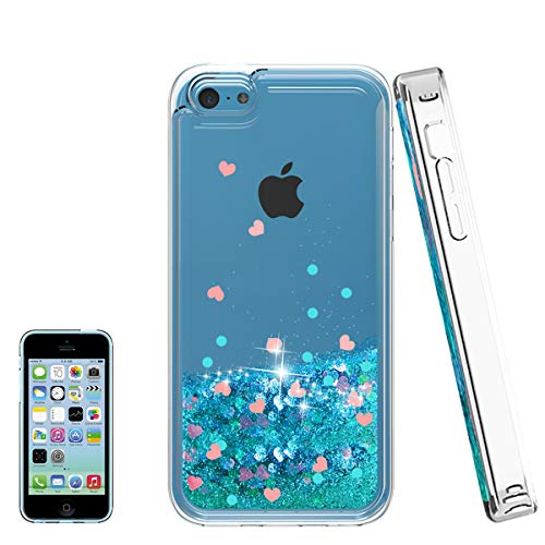 Atump iPhone 5C Case with HD Screen Protector for Girl, [Love Heart Series] Liquid Glitter Bling Sparkly Soft TPU Bumper Clear Quicksand Protective Shock-Absorption Phone Cover for iPhone 5C Blue