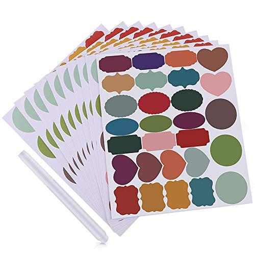 MUXItrade 280 PCS Etiquetas de colores con 1 marcador borrable,etiquetas adhesivas para pizarra compañeros de cocina Frascos de especias pegatinas reutilizables