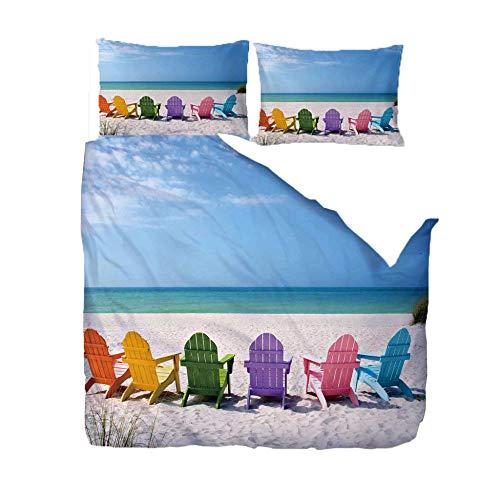 FAIEK Bettbezug Kissenbezug 3 Teilig Home School Schlafsaal Hostel Bequem Weich Bettwäsche Sets Optionale Größe Romantischer Strandkorb-doppelt- 200X200CM