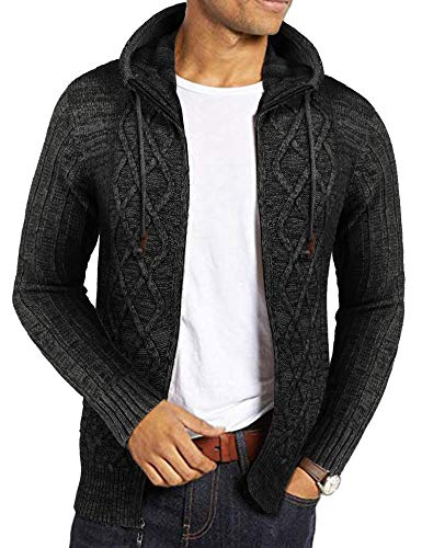 COOFANDY Mens Knit Sweater with Hood Zip-up Hoodie Cardigan Coats Black