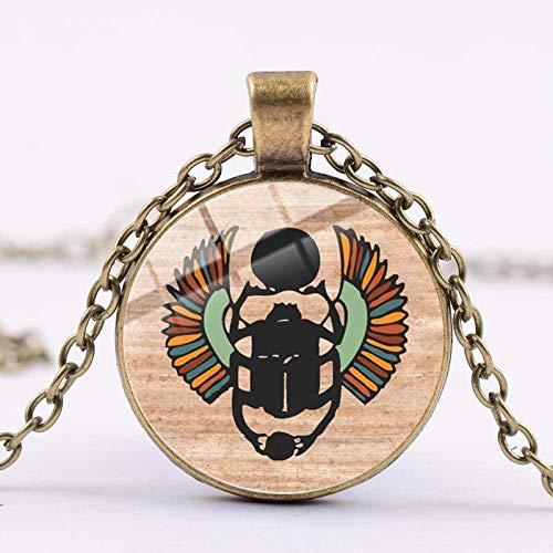 huangshuhua Collar con Colgante de Escarabajo Egipcio de Bronce Antiguo, Collar Largo con cabujón de Cristal con patrón de Arte Vintage para joyería de Mujer
