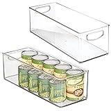 mDesign Juego de 2 cajas organizadoras con asas – Práctico organizador de frigorífico para almacenar alimentos – Contenedor de plástico sin BPA para armarios de cocina o nevera – transparente