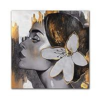 女性の肖像画キャンバス絵画壁アートゴールデンガールポスターとプリント花の壁の写真リビングルームの家の装飾70x70cmフレームレス