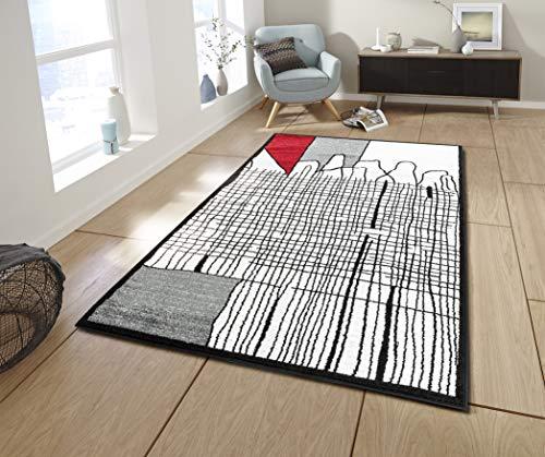 Koton Cali Tapis de Salon Graphique (Noir, Gris, Blanc, Rouge, 200 x 280 cm)