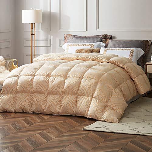 Cómodo de alto grado de ganso blanco edredón de plumas, edredón caliente en invierno, algodón tejido jacquard, terciopelo contenido...