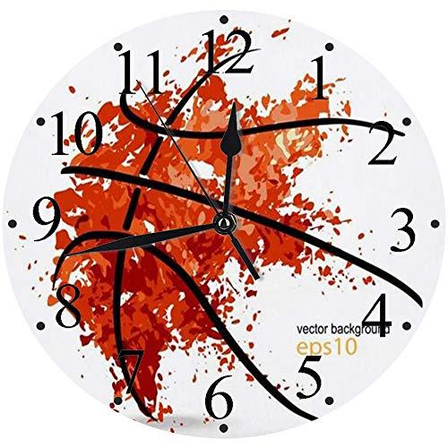 Reloj de Pared Moderno,Naranja Canasta Resumen Baloncesto Pelota Deportes Recreación Jugador Línea gráfica Insignia Aroreloj de Cuarzo de Cuarzo Redondo No-Ticking para Sala de Estar 30 cm