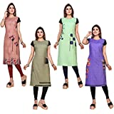 Ty Women's Crepe Straight Kurtis (DP-18-19-20-21, Multicolor, X-Large)