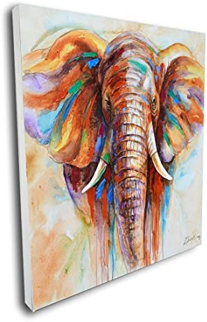 Pinetree Art Vibrant Wall Art Elephant Artwork Unique Elephant Painting on Canvas for Living product image