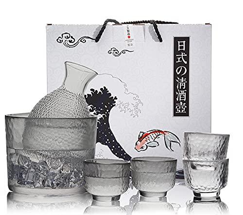 【日本酒好きにおすすめ酒器】280ML酒器セット ガラス 徳利&50ML盃4個電子レンジ対応で熱燗にも最適な徳利