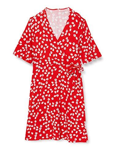 Amazon Essentials Kimono Sleeve Wrap dresses, Red Tossed Poppy, M