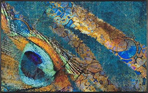 wash + dry Tapis Polyamide Bleu 75 x 120 cm