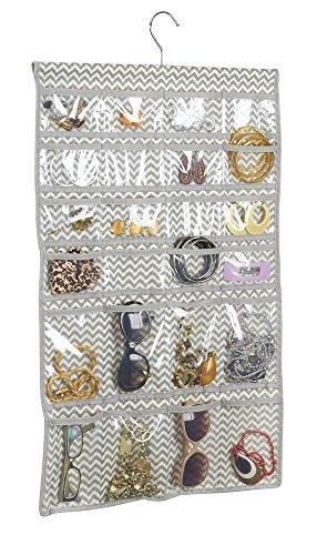 mDesign présentoir à Bijoux – Organisateur Bijoux à 48 Poches – Rangement Bijoux, Colliers, Lunettes, bagues – Couleur : Transparent/Motif Zigzag