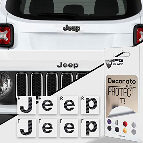 IPG for Jeep Renegade 2015 - 2020 Front and Rear Emblem Overlay Decal Stickers - Emblem Do it Yourself Stickers Set Personalize Your Renegade (Black Carbon Fiber)