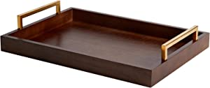 Wooden Serving Decorative Tray Home Decor with Handles Farmhouse Rustic Mordern Serving Tray for Ottoman Decoration Decorative Tray Centerpiece for Coffee Table Living Room Table Original Wood Bottom