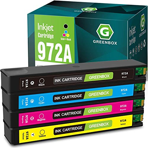 GREENBOX Remanufactured Ink Cartridge Replacement for HP 972A 972 for HP Pagewide Pro 477dw 377dw 477dn 577dw 377dn 577z 452dn 452dw 552dw P55250dw P57750dw (1 Black, 1 Cyan, 1 Magenta, 1 Yellow)