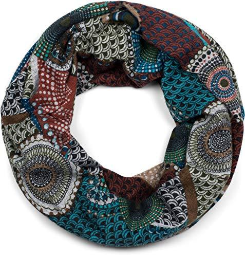 styleBREAKER fijn gebreide lusjes sjaal met etnostippen Afrikaanse stijl patroon, sjaal, vrouwen 01017042