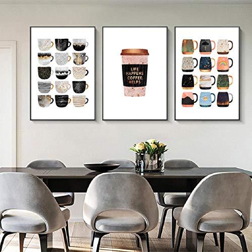Terilizi Maar eerste koffie bonte mokken koffie keuken druk poster Noordse afbeeldingen op linnen muurkunst foto's woonkamer wooncultuur 40 x 50 cm x 3 geen lijst