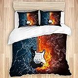 Juego de funda nórdica de 3 piezas, guitarra eléctrica en fuego y concierto de guitarra acuática, juegos de fundas de edredón de microfibra de lujo para dormitorio, colcha con cremallera con 2 fundas