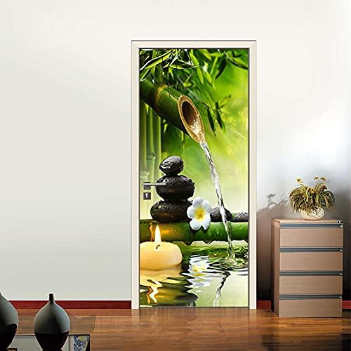 Pegatinas de Puerta en 3D 95x215cm DIY Autoadhesivo Puertas Mural Etiqueta Papel Tapiz para el Dormitorio Sala de Baño Cocina Calcomanía de la Puerta Pared - Green Bamboo Zen Stone Candle