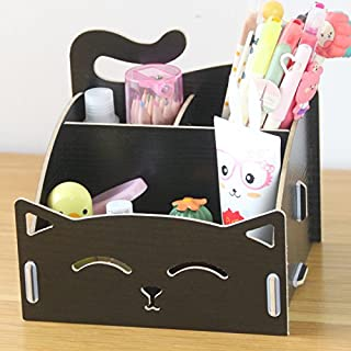 CellCase Wooden DIY Assemble Cute Cat Pen Pencil Storage Box Cosmetic Holder Desktop Organizer for Home Office (Black)