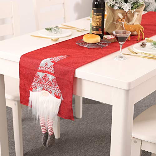 Kappha Camino de Mesa Mantel Largo de Lino navideño de Wichtel para decoración de Cocina de Comedor con Figuras de decoración de gnomos navideños, 33x180 cm