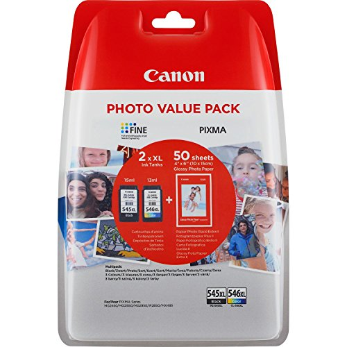 Canon PG-545XL/CL-546XL Set di 2 cartuccie d'inchiostro XL e carta fotografica