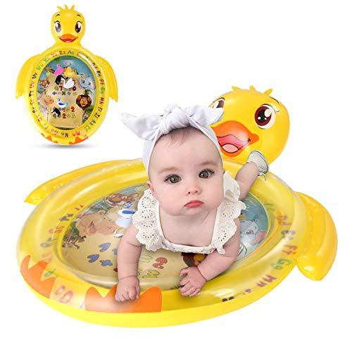 Gojiny Alfombrilla de Agua para Bebés Colchoneta de Agua para Bebés Boca Abajo Centro de Actividades Infantiles Alfombrilla de Juego Inflable con Juguetes Flotantes