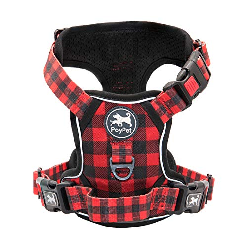 PoyPet No Pull Dog Harness, [Release on Neck] Reflective Adjustable No Choke Pet Vest with Front & Back 2 Leash Attachments, Soft Control Training Handle(Checkered Red, Large)